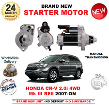 FOR HONDA CRV 2.0 i 4WD STARTER MOTOR 2007-ON MANUAL Mk III RE5 1.2kW 9 TEETH