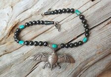 Antique Tibetan Bat Necklace Jet Turquoise Black Star Diopside Silver Jewelry