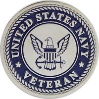 "Genuine U.S. NAVY LAPEL PIN: NAVY VETERAN - 1"" Diameter"