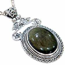 RARE_*GOLDEN OBSIDIAN*_NECKLACE PENDANT_w/CHAIN __925 STERLING SILVER