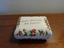 "Vintage J. S. N. Y. China Box ""God's Blessings Are Forever"" with original cards"