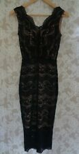 Oasis Black Lace Fitted Dress Size XS