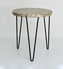 Florence Knoll Vtg Mid Century Modern Hairpin Metal Stone Tripod Side Table DWR
