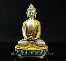 Old Tibet Silver Copper Gilt Tibetan Buddhism Statue -- Sakyamuni Buddha e02