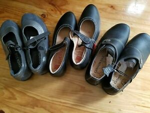 Bulk lot 3 Pair Rivers + millers LEATHER synthetic Black grey Shoes size 39 / 8