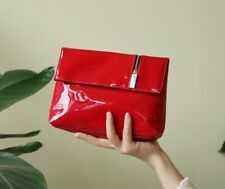 YSL Beauty Red Faux Patent Leather Makeup Cosmetics Bag / Prestige Pouch, NEW!