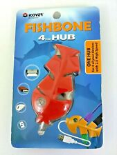 High Speed USB 2.0 4-port HUB Adapter 480 Mbps for Multiple Device Red Fishbone