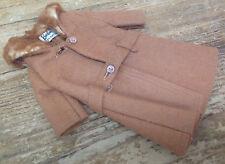 Barbie Mattel #1 Faux Fur Collared Brown Camel Brown Jacket Overcoat Vintage