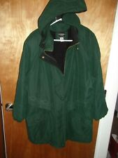 WOMAN'S 1X GREEN HEAVY OUTBROOK VINTAGE COAT FLEECE LINED HOODED