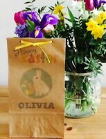 Personalised Paper Easter Bags/Gift/Party Bags & Ribbon
