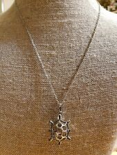 "Cute Silver Tone Turtle Cage Pendant with Latch Includes 22"" Free Chain"
