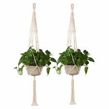 2Pcs Macrame Plant Hangers Garden Wall Flower Hanging Basket Rope Pot Holder