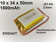 Lithium Polymer LiPo Batterie Akku 1800mAh 3.7V 1S PCB 103450 JST PH 2.0 mm N30