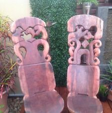 Handcarved African Chairs Pair