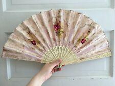 Vintage Hand Fan Bone Sticks Real Feathers Flower Decoration Nr