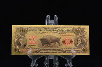 <MINT GEM>PRECISE DETAIL~GOLD~1901 UNC.$10 DOLLAR BISON Rep*Banknote~USA SELLERq