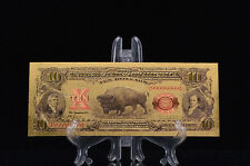 <MINT PROOF W/COA>GOLD 1901 Series$10 DOLLAR Bill Bison BANKNOTE Rep*~US SELLER!
