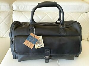 NWT The British Belt Co. Leather Blue Label Weekender Duffel Bag Black Vintage