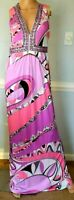Emilio Pucci Embellished Bead Pink Long Maxi Gown Kaftan Dress US 4 6 8 / IT 42