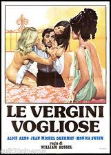 LE VERGINI VOGLIOSE MANIFESTO CINEMA FILM SEXY EROTICO ANNI '70 MOVIE POSTER 2F