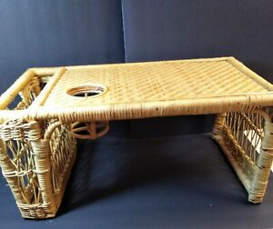 Vintage Bamboo Wicker Breakfast Bed Tray Newspaper Book Holder Rattan Woven