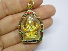 """Ganesh Statue Pendant amulet Hindu Elephant God Ganesha Gold High Luck Charm 2"""""""