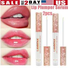 2xInstant Lip Plumping Serum Gloss Volumising Plumper Full Buxom Lip Balm Filler