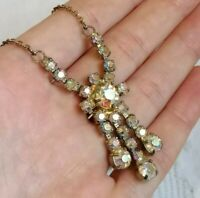 Vintage 50'S AURORA BOREALIS Rainbow Rhinestone Claw Set Tassel Drop Necklace