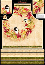 Christmas A Colorful Season Bird Leaf Holiday Fabric Cotton Apron Project Panel