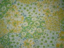 Vintage RETRO YELLOW & GREEN FLORAL Fabric (50cm x 50cm)
