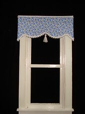 "Dollhouse Curtains - Shade - Tiny Blue Floral with Tassel - 3 "" wide"