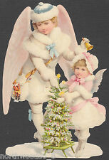 WINTER CHRISTMAS DOUBLE ANGELS ENGEL VICTORIAN  EMBOSSED GERMAN PAPER SCRAP CARD