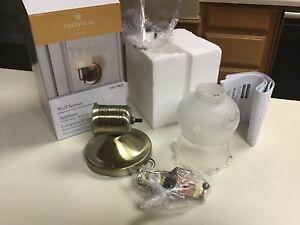 Portfolio Wall Sconce Light / Lamp Fixture Antique Brass w Globe #0077921 NIB