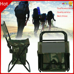 Folding Outdoor Camping Fishing Chair Stool Portable Carry Seat With Storage Bag
