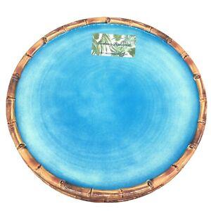 x6 Tommy Bahama Ocean Blue Melamine Dinner Plate Set Bamboo Edge Tropical Beach