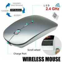 2.4GHz Wireless Optical Mouse USB Rechargeable For MacBook Pro / Air Laptop PC