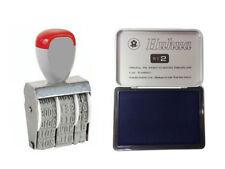 Timbro datario con tampone inchiostro blu 2pz cuscinetto inchiostrato ufficio