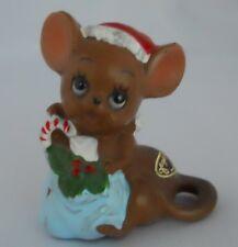 Josef Originals Mice Village Santa Mouse & Gift Sack Japan Oval Tagged Figurine