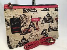 New French Tapestry Canvas Cosmetic Clutch Bag w/Strap France Paris Eiffel Tower