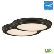 LED Ceiling Flush Mount with White Acrylic Shade 13in Oil Rubbed Bronze 2 Pack