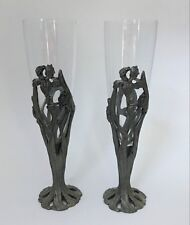 Set Of 2 Seagull Pewter Canada Etain Zinn Iris Flower Champagne Toasting Flutes