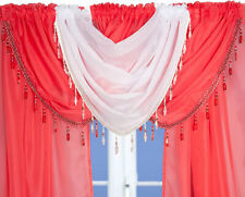 Red Crystal Beaded Sparkle Swag Pelmet Valance Voile Net Curtain Swag Single