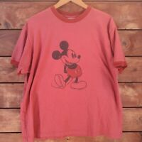 Men's XL Mickey Mouse Ringer T-Shirt by Disney - Red Short Sleeve Crew Neck