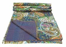 Indian Multicolor Paisley Print King Size Kantha Quilt, Blanket, bedspread Cover