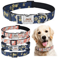 Personalized Dog Collar Durable Nylon Floral Custom Engraved PET ID Name Collars