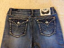 """Super Cute"" Womens La Idol USA Boot Cut Jeans Med Wash Flap Pocket Gems Size 13"