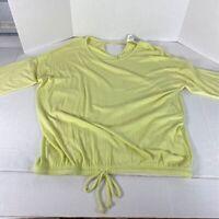 Workshop Womens Blouse Light Celery Tie Waist Cut Out Scoop Neck Stretch L New