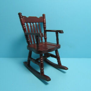 Dollhouse Miniature Boston Rocking Chair with Spindle Back in Mahogany D5322