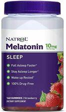 Natrol Melatonin 10mg Gummies 140ct Strawberry Flavor,Non-GMO,100% Drug-Free NEW