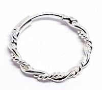 Twisted Tribal Wire Ring 8mm 22g (0.6mm) Bright 925 Silver Nose Hoop Ring Septum